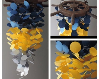 Wood Top Blue and Yellow Mobile, Nautical Mobile