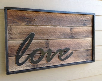 Love Sign, Romance Art, Rustic Wood Sign, Reclaimed, Home Decor, Bedroom Decor, Wedding Gift, Wedding, Rustic Wedding, by StoneWoodRustics