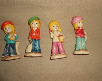 "4 MOD GIRL FIGURINE Set 6"" Vintage Retro Little Ones"