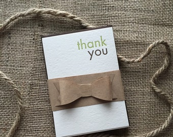 Letterpress Green & Brown Thank You Cards