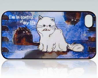 Funny White Cat iPhone 4 case, iPhone 4s case,  blue iPhone 4 cover, iPhone 4/4s cover, night iPhone case