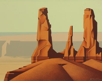 Ed Mell, Three Sisters, Stone Lithograph