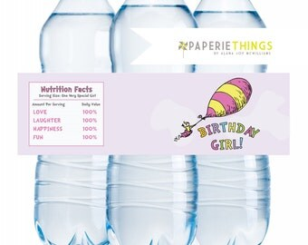 Printable Water Bottle Labels - Drink Wraps Wrappers - Dr. Seuss Oh the Places She'll Go Birthday INSTANT DOWNLOAD
