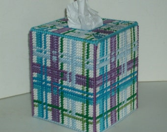 Beautiful Tissue Box Cover - Boutique Size - Teals, Blues, Purples and Greens Plaid