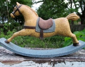 Rustic Country Blue, Tan and Brown Rocking Horse - Vintage Poly Resin Rocky Horse