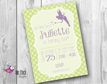 Fairy Birthday Invitation, Glitter Fairy, Pixie, Fairy Party, Printable, Digital File
