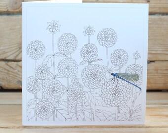 Dahlias & Dragonfly Greeting Card