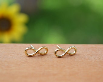 Studs Infinity Earrings Gold Plated -925 Sterling Silver
