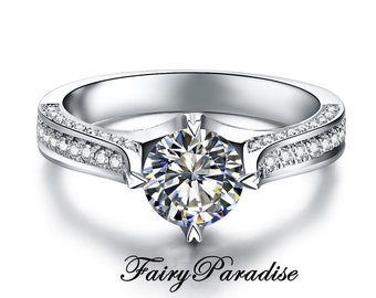 1 Carat Art Deco Engagement Ring, Round Cut Man Made Diamond Promise Rings in Pave band, Free Gift box - made to order (FairyParadise)