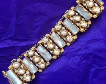 vintage wide damascene mother of pearl lucite flower bracelet
