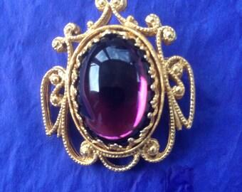 Vintage amethyst moonstone goldtone brooch
