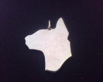 Cat ( Oriental type) profile silhouette Sterling Silver pendant