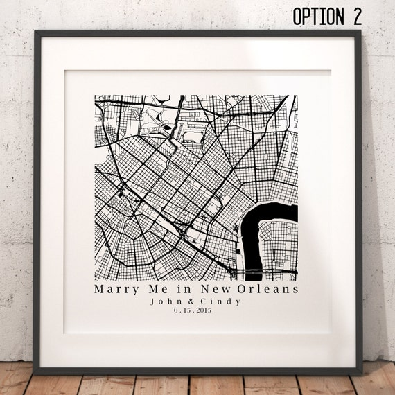 New Orleans Wedding Ideas: New Orleans Wedding Gift Personalized Map Art Print By