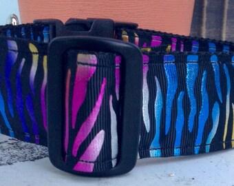 "Big Dog Collar  * Colorful Zebra  *adjustable  1 1/2"" Buckle   2  or 1 1/2 inch martingale collar"
