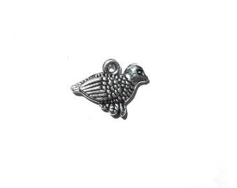 6 Silver Quail Charms - Bird Charm