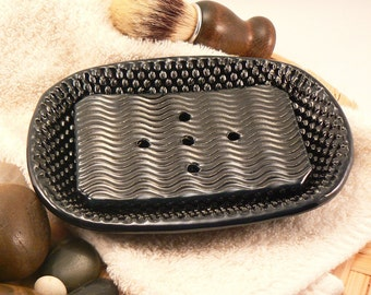 Ceramic Soap Dish with Drain in Black with Hobnail Pattern Handmade