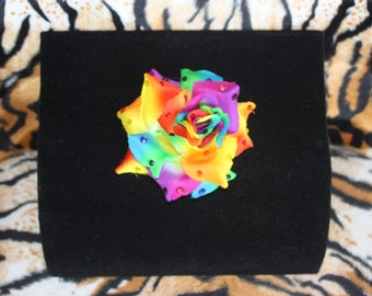 Pride Rainbow Rose Hairclip with multicolored rhinestone accent
