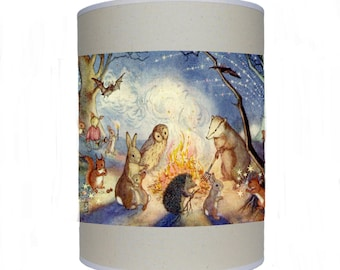 Woodland animals around the bonfire shade/ lamp shade/ ceiling shade/ drum lampshade/ lighting