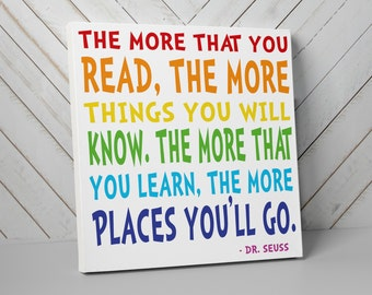 Dr. Seuss Nursery Art, The More You Read, Rainbow Nursery