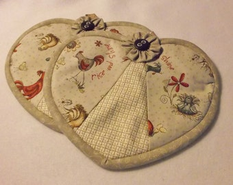 Heart in My Hand Potholders Potholders Good Morning Roosters