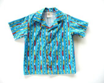 SALE - Boys shirt - boys cotton shirt - boys button up shirt - boys organic cotton shirt - short sleeve shirt - 5T shirt - lorax print shirt