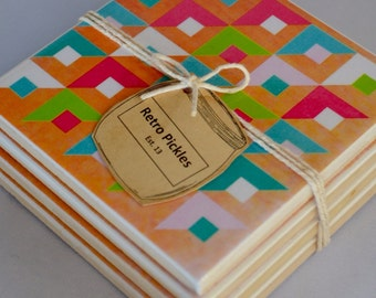 Ceramic Tile Coasters - Fleuro Geometric on Timber 2 041