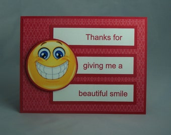 Stampin Up Handmade Greeting Card: Blank Note Card, Thank You Card, Orthodontist, Orthodontic, Dentist, Braces, Smile, Happy Face, Teeth