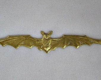 "1 Raw Brass Bat Stamping, 4 3/4 long x 5/8"" tall Halloween Finding Ful 2782"