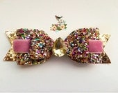 Girls Glitter Bow, Sparkly Glitter Bow, Glitter and velvet Hair Clip, Sparkly bow Headband, Mulicolor Glitter Bow rhinestone, BirthdayBow