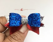 Baby Girls Memorial Day Bow / July 4th Headband, Nautical Red White and Blue Bow headband, Leather Bows, Baby Bows, Genuine Leather bows