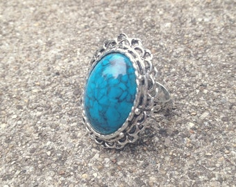 Blue Marble Adjustable Ring. Adjustable Ring. Blue Marble. Silver Ring. Vintage Ring.