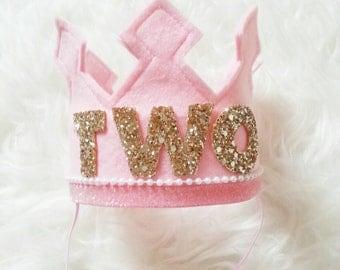 Pink and Gold Birthday Girl Felt Crown | Felt Crown | Birthday Crown | 2nd Birthday | Photo Prop | Photography Prop | Baby Birthday Crown