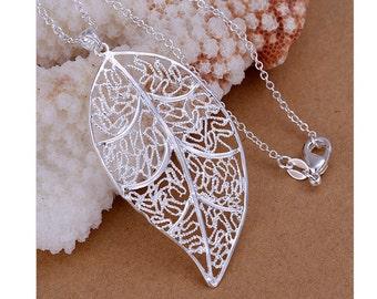 925 Silver Plated Filigree Leaf Pendant Necklace
