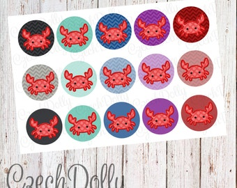 Crab Bottle Cap Images 4x6 JPEG 1 inch Printable Bottle Cap Images {300dpi} INSTANT DOWNLOAD