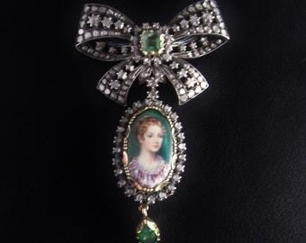 Georgian Diamond Portrait Brooch French Enamel Rose Cut Diamond Victorian Brooch Pin Marie Antoinette Jewelry Stomacher Downton Abbey 18K