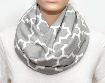 Gray Infinity Scarf with Quatrefoil pattern, scarf, gray scarf, grey infinity scarf