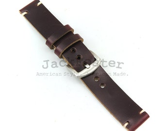 Leather Watch Strap Horween Burgundy Chromexcel Engraved Thumbnail Buckle