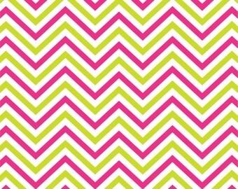 Hot pink, lime and white chevron craft  vinyl sheet - HTV or Adhesive Vinyl -  zig zag pattern HTV1544