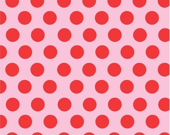 Light pink with red polka dots craft  vinyl sheet - HTV or Adhesive Vinyl -  large polka dot pattern HTV760