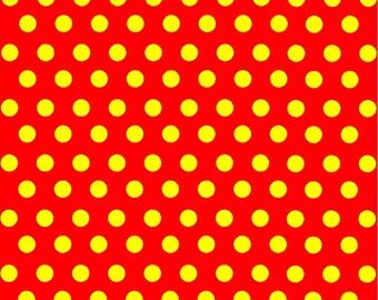 Red with yellow polka dot pattern craft  vinyl sheet - HTV or Adhesive Vinyl -  medium polka dots HTV4103