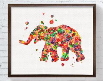 Elephant Art Print, Elephant Poster, Elephant Wall Art, Watercolor Elephant, Watercolor Print, Nursery Wall Decor, Kids Room Decor