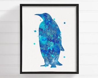 Penguin Art Print, Watercolor Penguin, Penguin Painting, Nursery Art Print, Penguin Illustration, Penguin Wall Art, Penguin Poster, Animal