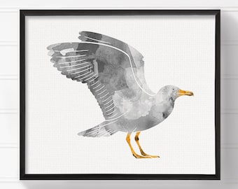 Seagull Art Print, Nautical Home Decor, Beach Art Print, Nursery Art Print, Watercolor Seagull, Seagull Painting, Archival Print, Framed Art
