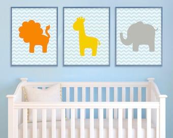 Jungle Nursery Art, Nursery Wall Art, Safari Animal Print, Baby Nursery Decor, Safari Nursery, Baby Boy Nursery, Kids Room Decor, Childrens