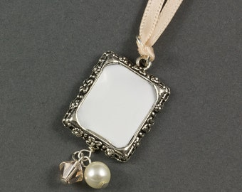 Wedding Bouquet Photo Frame Charm | Crystal and Pearl Wedding Photo Frame Charm | Memorial Photo Frame Charm | Wedding Picture Frame Charm