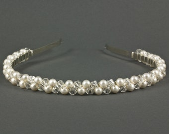 Pearl Crystal Headband | Wedding Headband | Pearl Wedding Headband |  Pearl Bridal Hairpiece | Wedding Tiara | Pearl Wedding Hairband