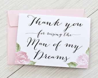 Thank you for raising the man of my dreams wedding card - woman of my dreams, card to mother-in-law, card to father-in-law, card to in-laws