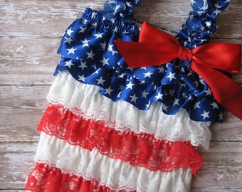 Fourth of July romper, Fourth of July outfit, Fourth of July dress, romper and headband, july 4th romper, memorial day, Red white and blue