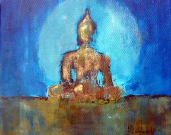 "DONATION for NEPAL!!!*** Original ""Buddha for Nepal""  8 x 8 inch"