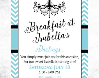 Printable Breakfast at Tiffany's Birthday Party Invitation - 4x6 or 5x7 - First Birthday